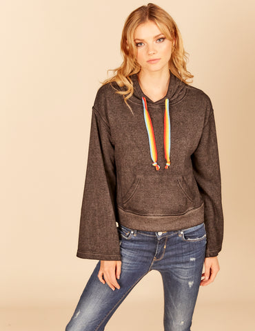 Stripe Sleeve Trim Boxy Hoody