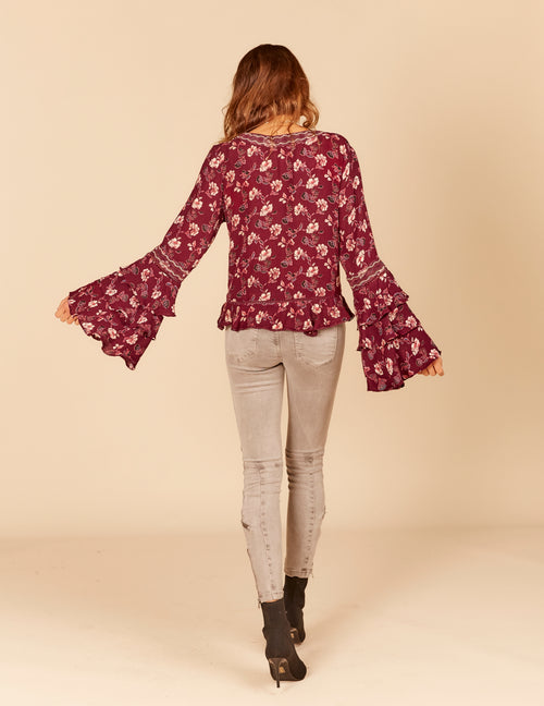 Garden Floral Print Embroidered Trim 3-Tier Bell Sleeve Ruffle Blouse