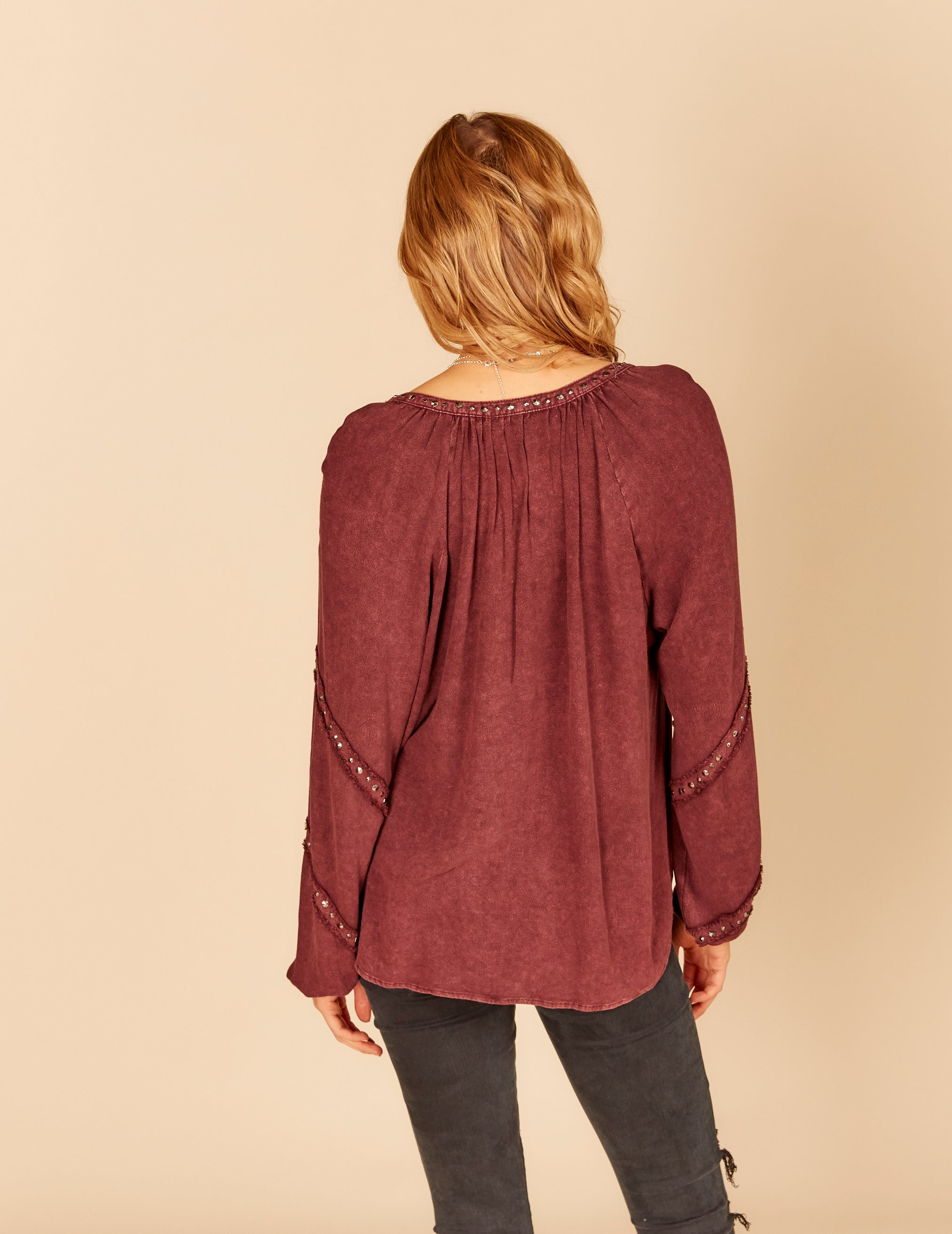 Studded Trim Detail Blouse