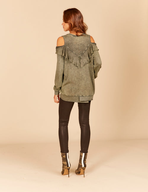 Ruffle Cold Shoulder Sweatshirt
