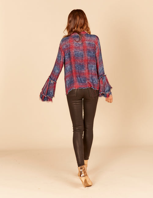 Boxy Crop Frayed Ruffle Sleeve Button Down Shirt