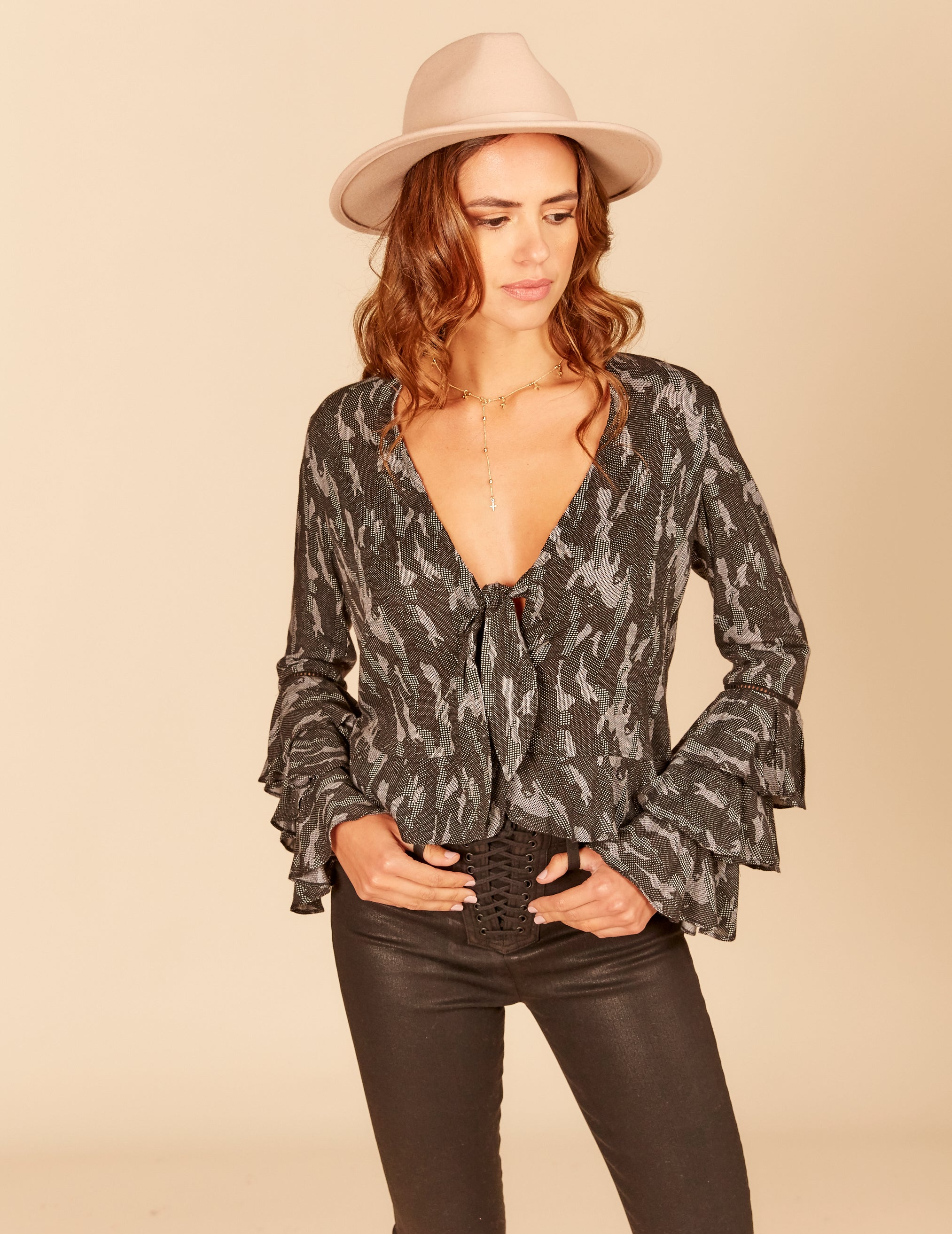 Textured Camo Print Ruffle Bell Sleeve Front Tie Blouse