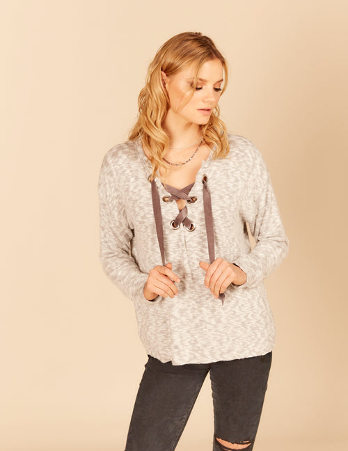 Velvet Lace Up Brushed Hacci Boxy Top