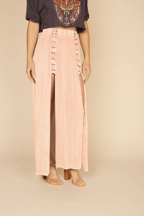 Washed Primrose Lace Up Maxi Skirt