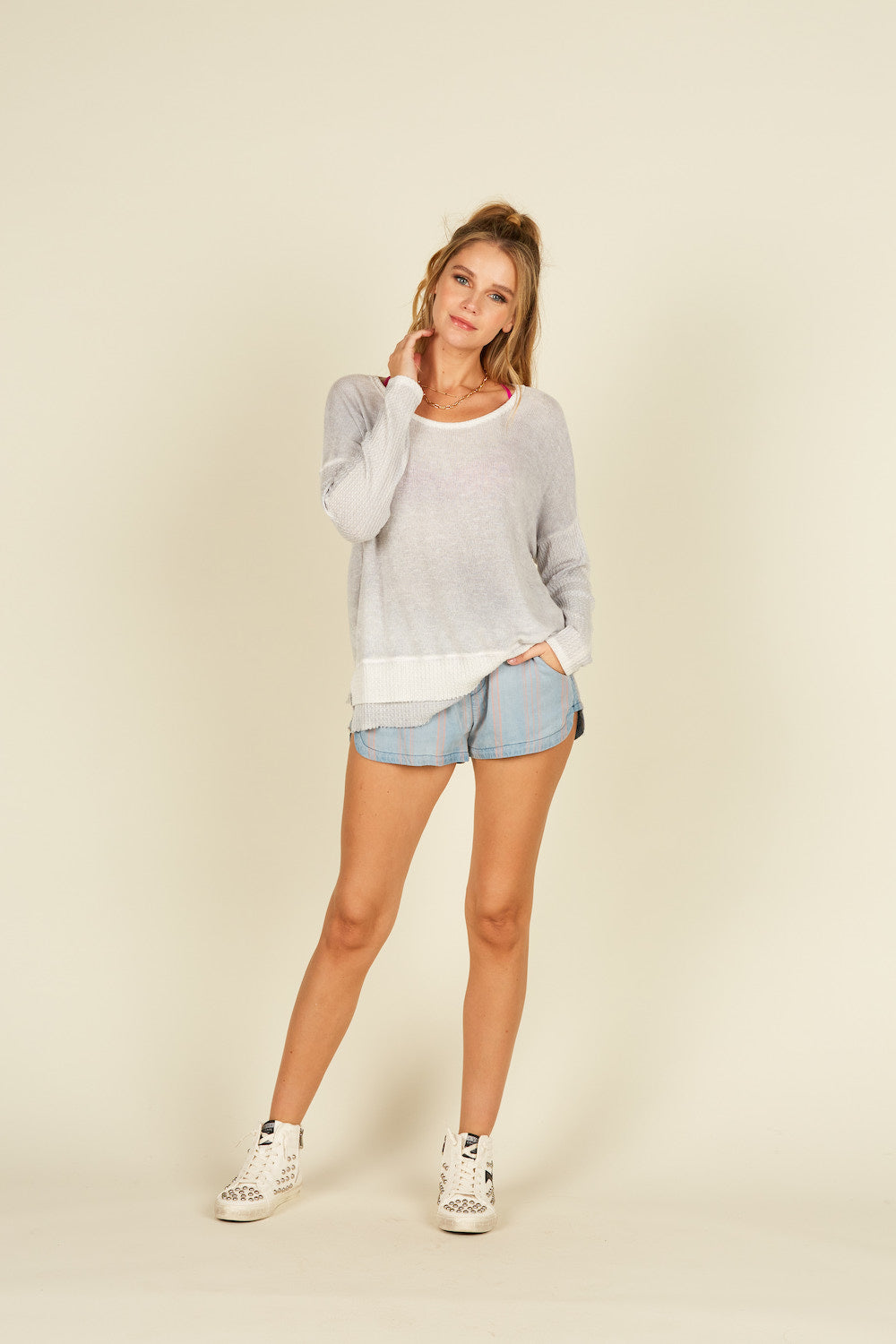 Spray Wash Long Sleeve Top