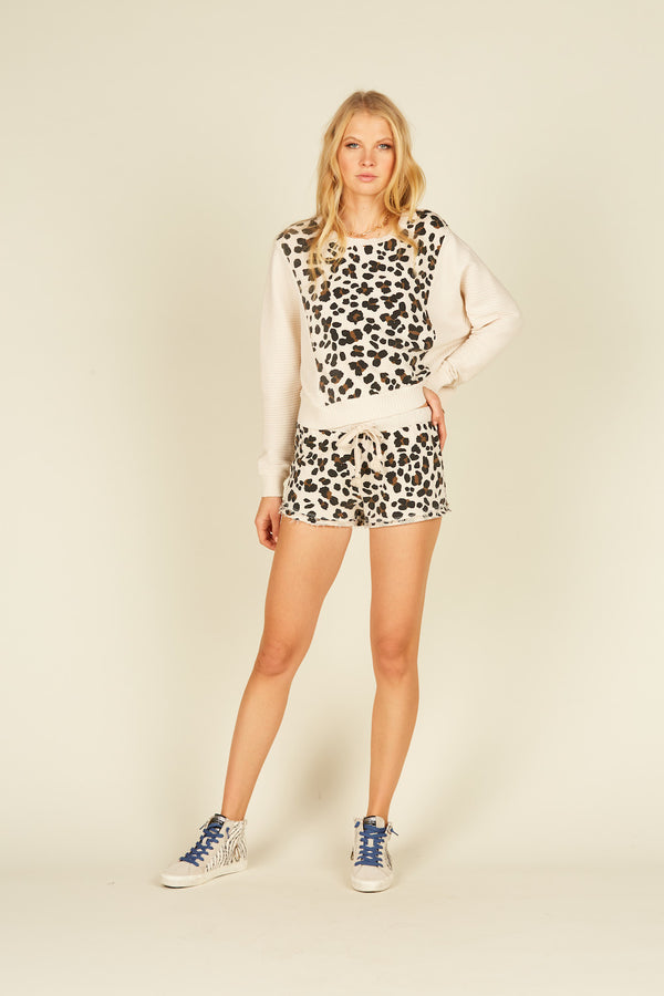 Ivory Leopard Colorblock Shorts