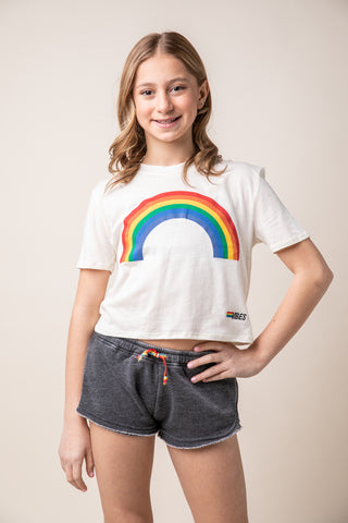 Rainbow Stripe Lightning Bolt Long Sleeve Tee