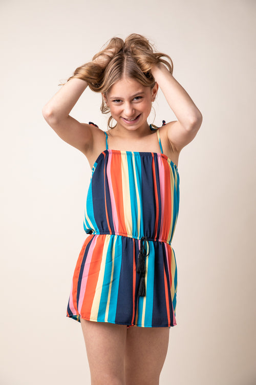 MULTI COLORED STRIPE ROMPER