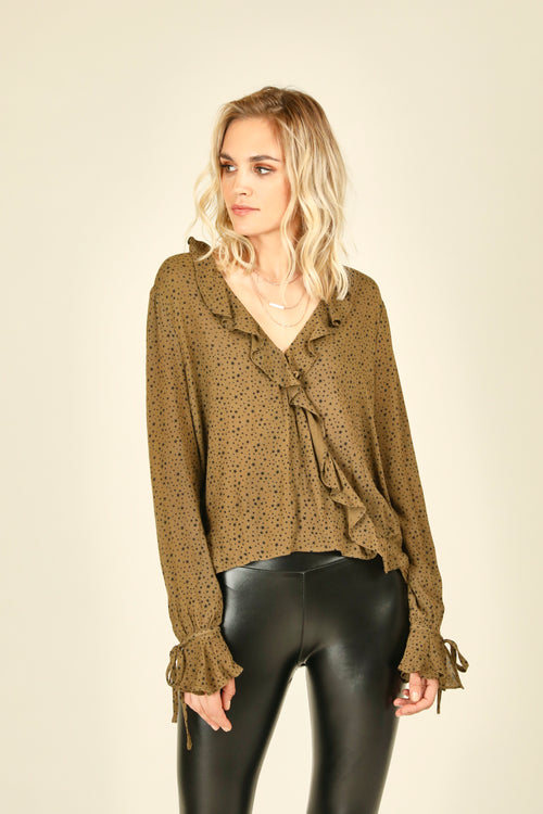 Olive Mini Star Surplice Blouse