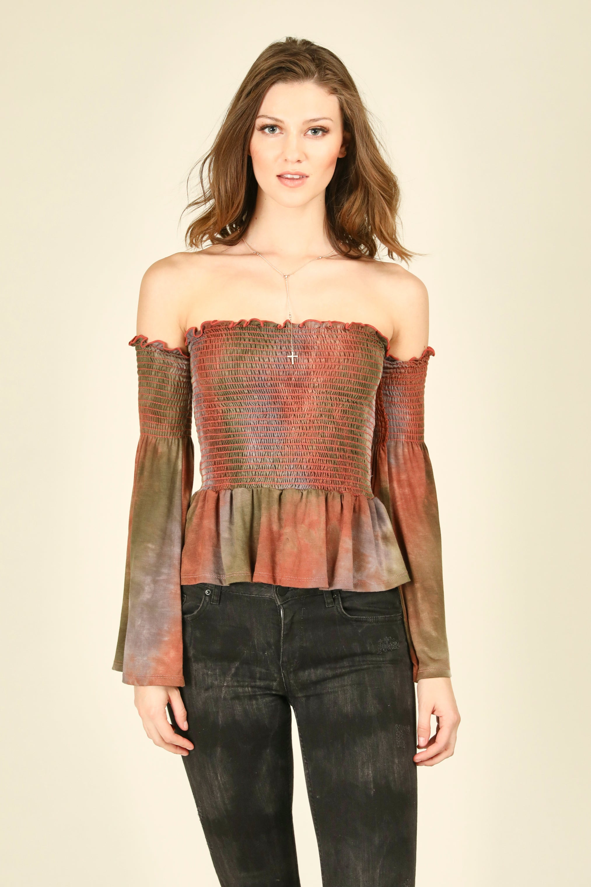 Earth Tones Smocked Bodice Top