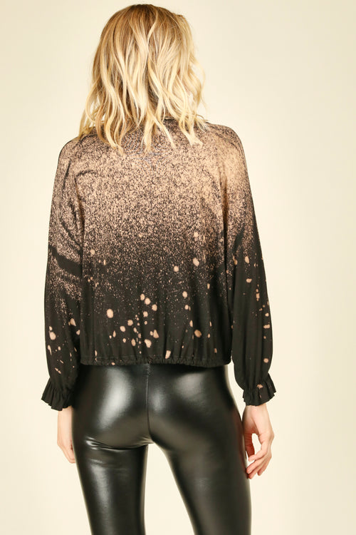 Black Bleach Splatter Top