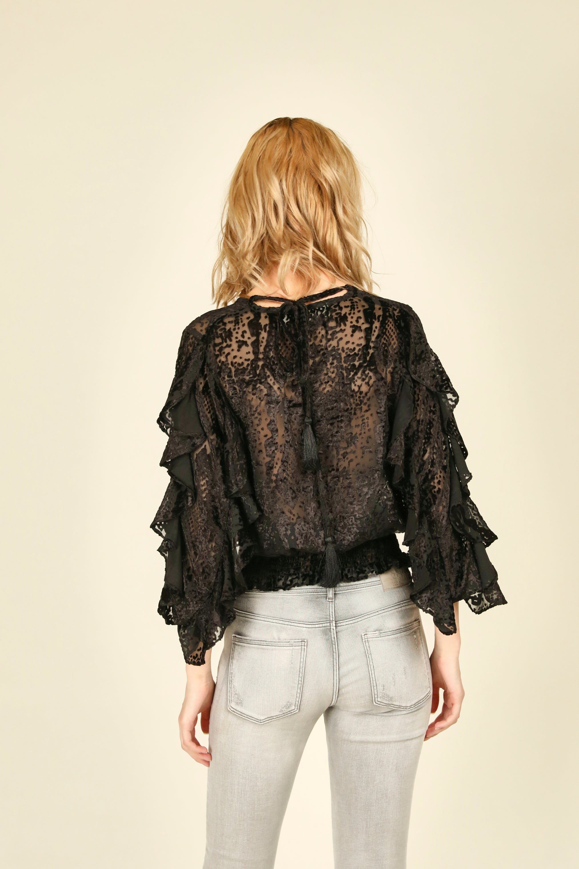 Black Snakeskin Ruffle Sleeve Top