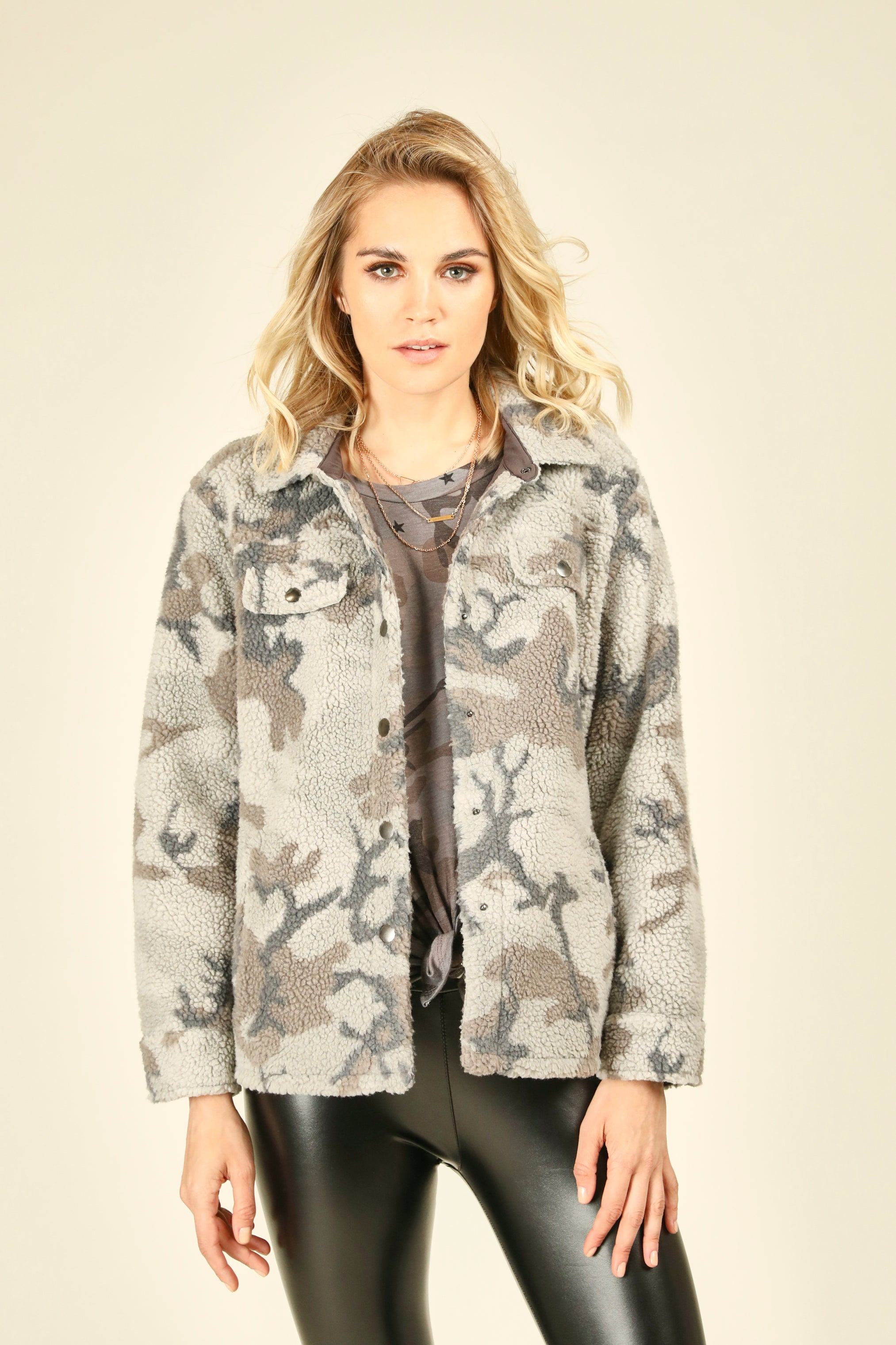 Grey Camo Oversized Faux Fur Jacket