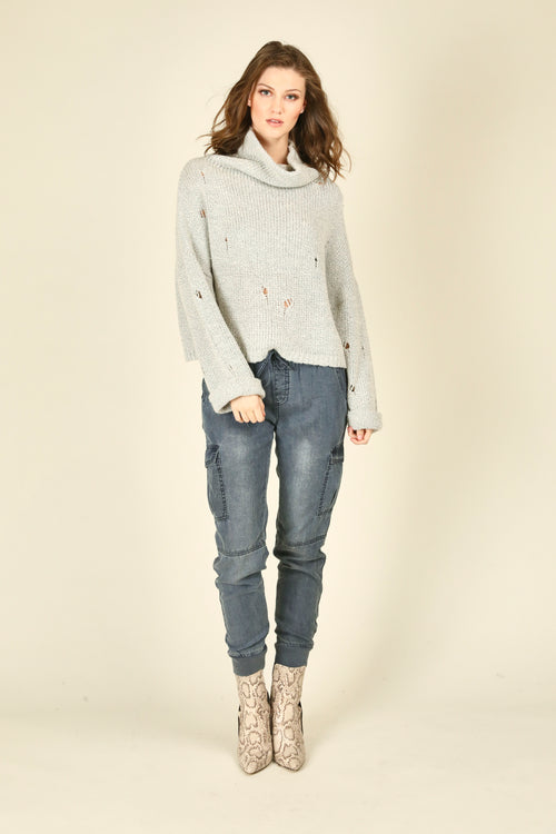 Cowl Neck Sweater With Rips