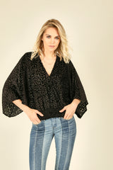 Black Leopard Burnout Top