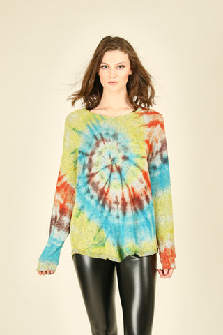 Diagonal Tie Dye Long Sleeve Top