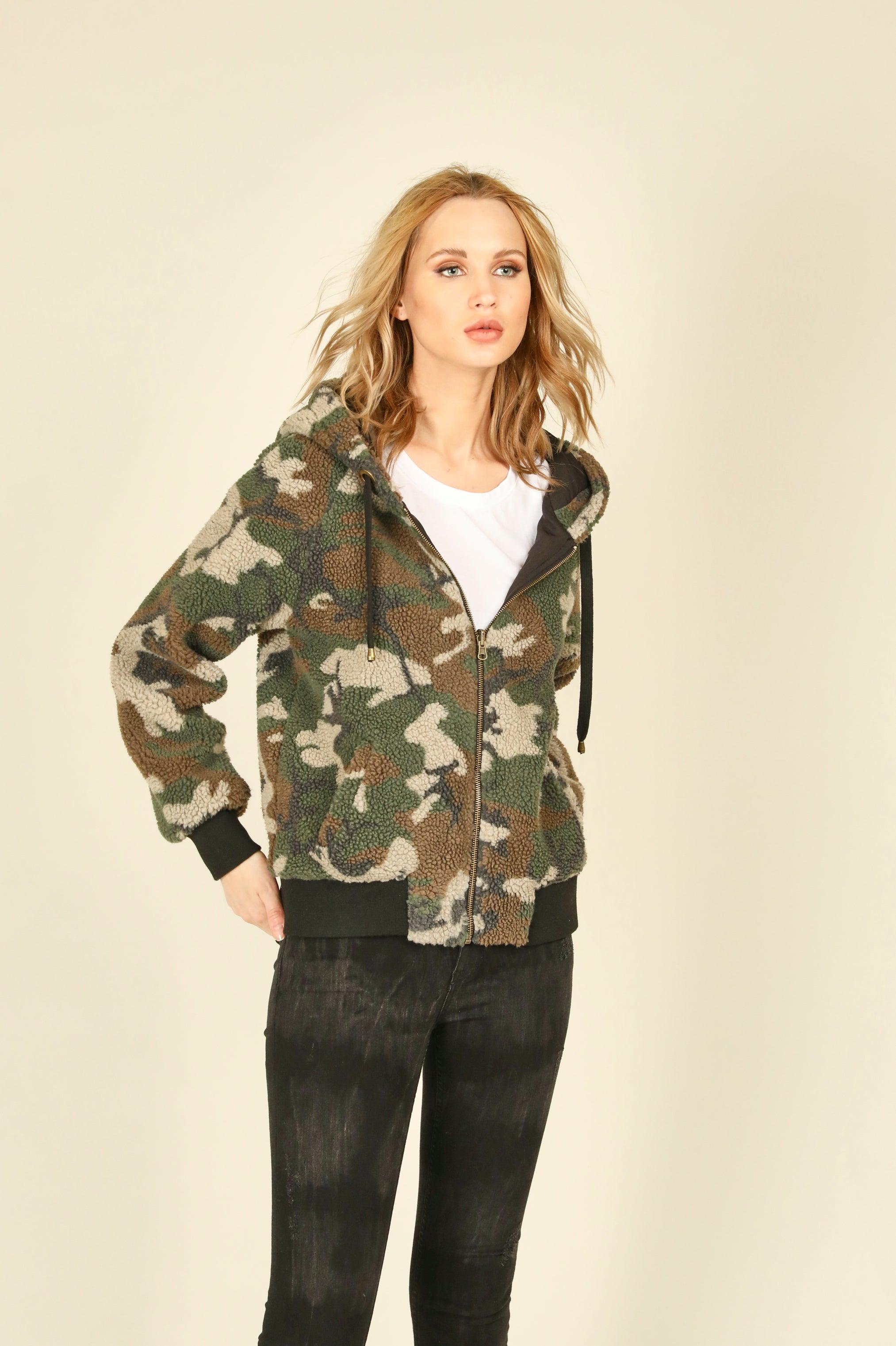 Olive Camo Faux Fur Reversible Bomber Jacket