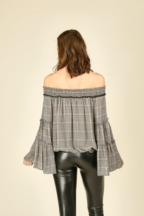 Glenn Plaid Bell Sleeve Off Shoulder Top