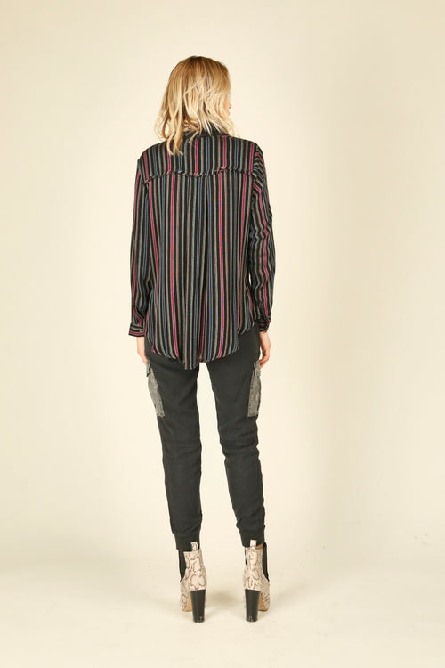 Candy Stripe Tie Front Shirting