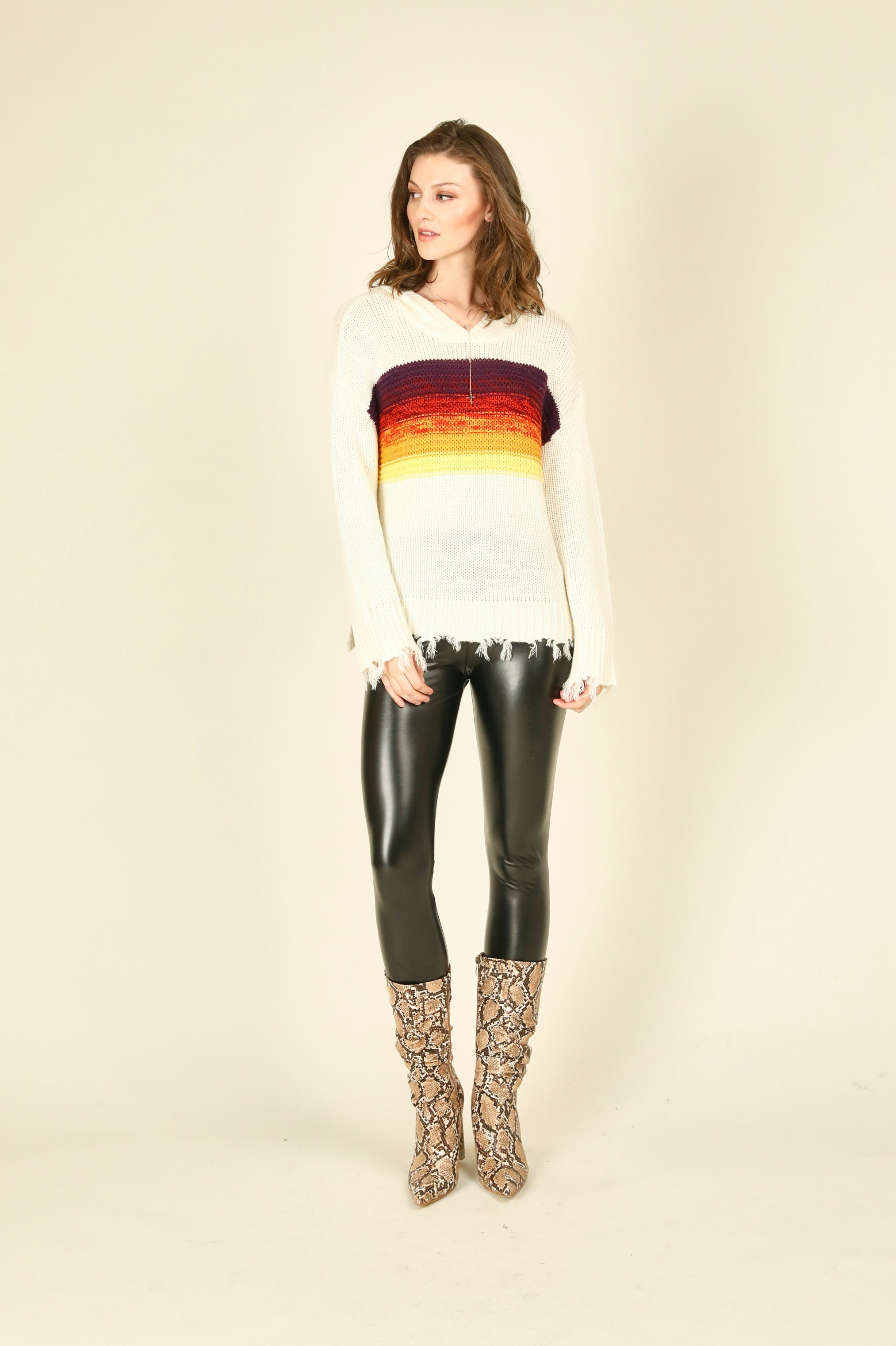 Striped Destroyed Boxy Crop Sweater