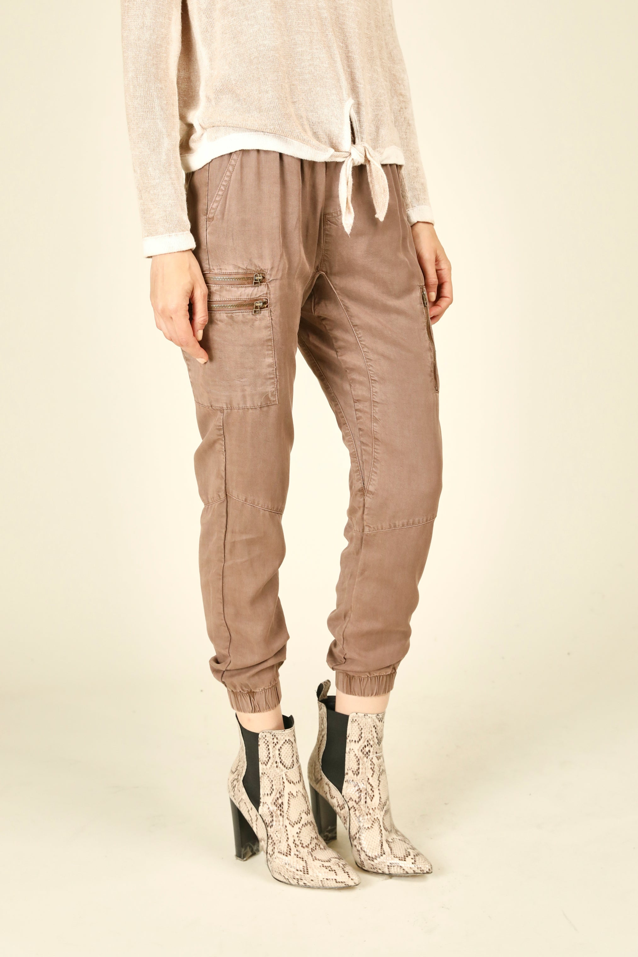 Deep Mauve Tencel Jogger Pants