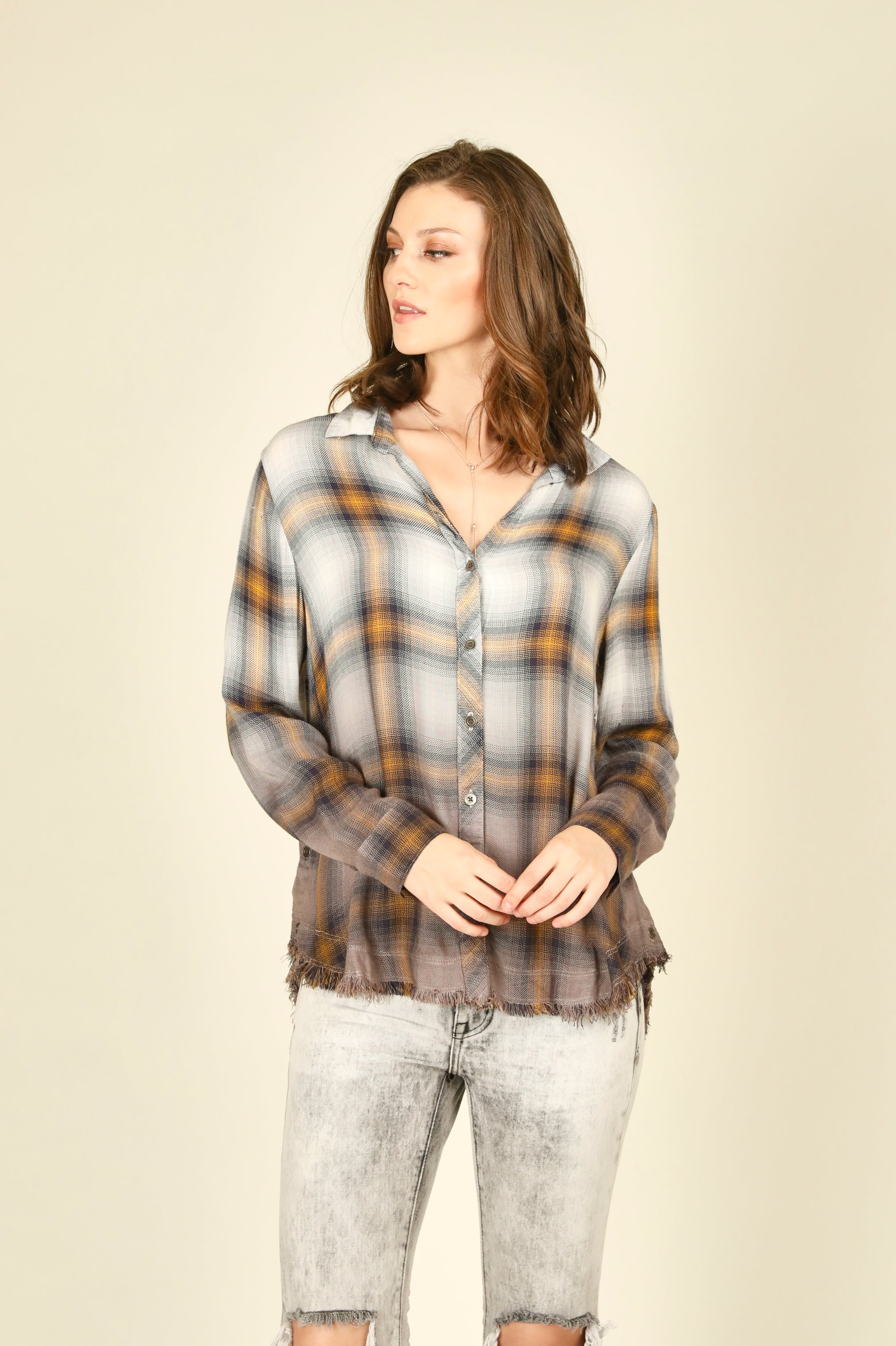 Plaid Dip Dye Shirt