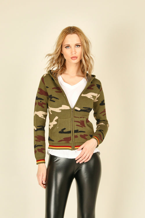 Camo Rib Fitted Zip Hoodie