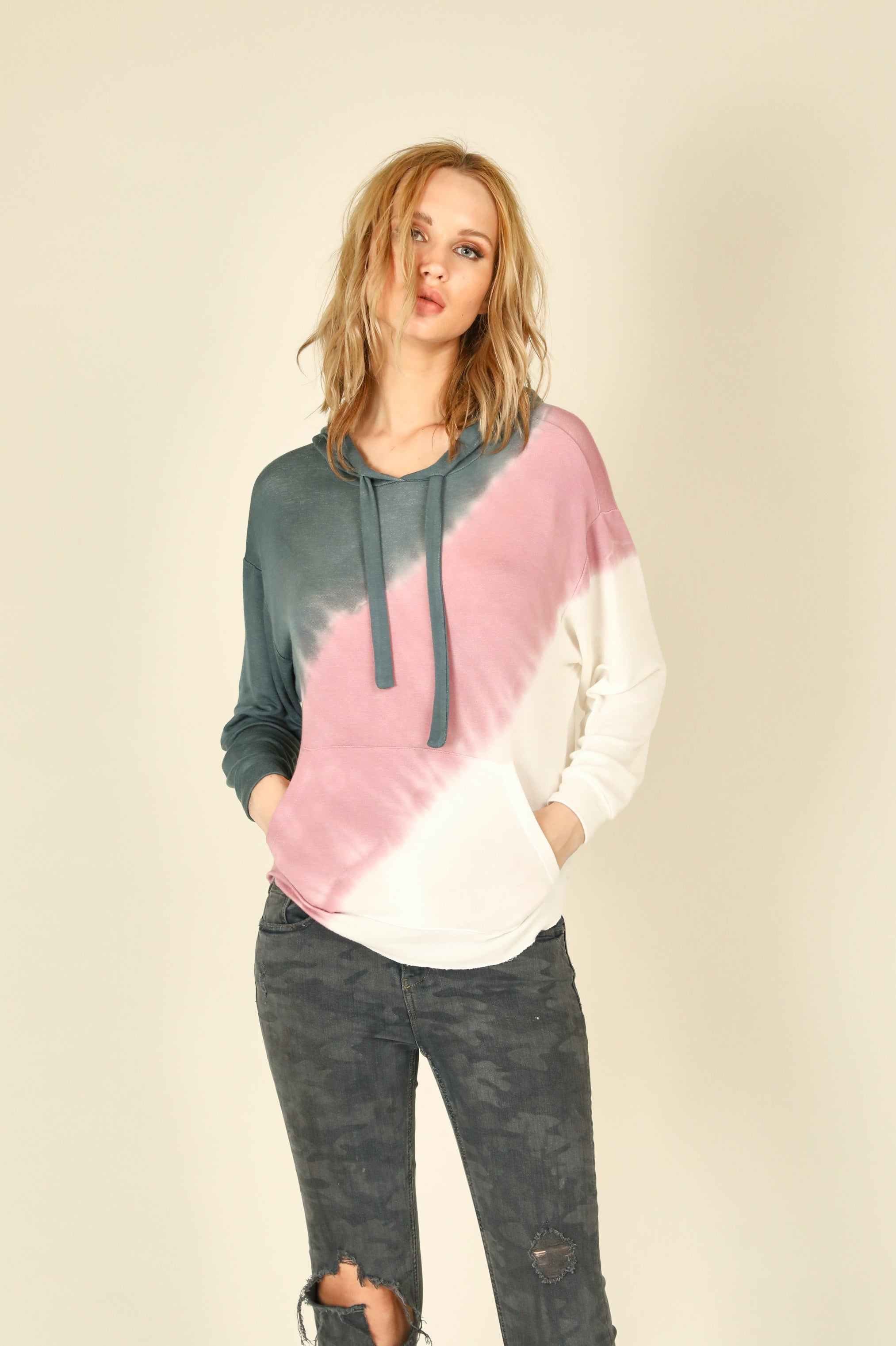 Diagonal Tie Dye Baby French Terry Hoody