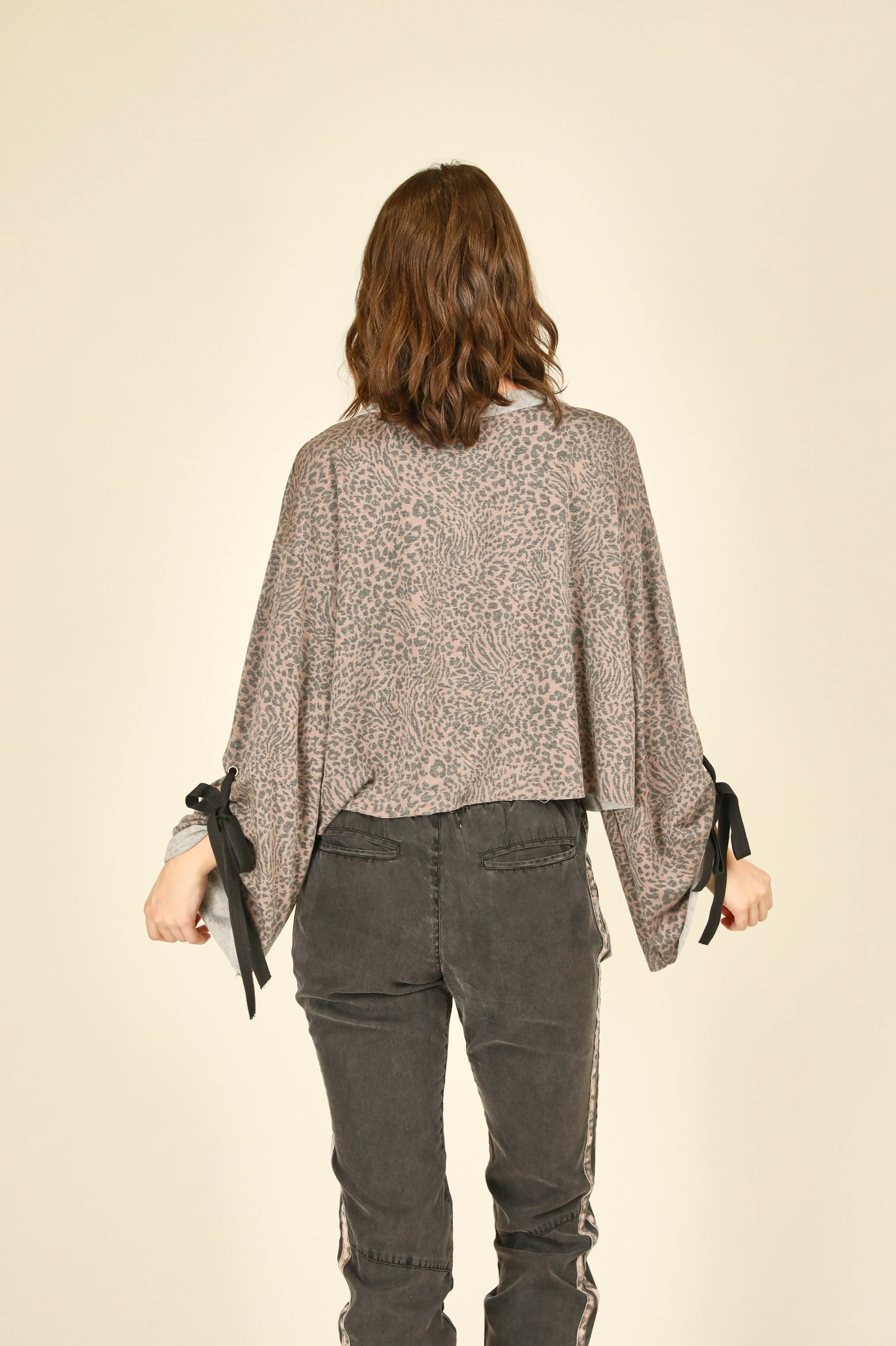 Mini Leopard Print Bell Sleeve Top