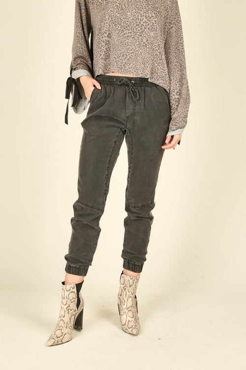 Charcoal and Leopard Tencel Pants