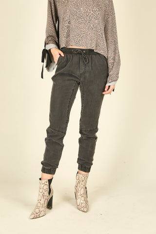 Charcoal Leopard Tencel Pants