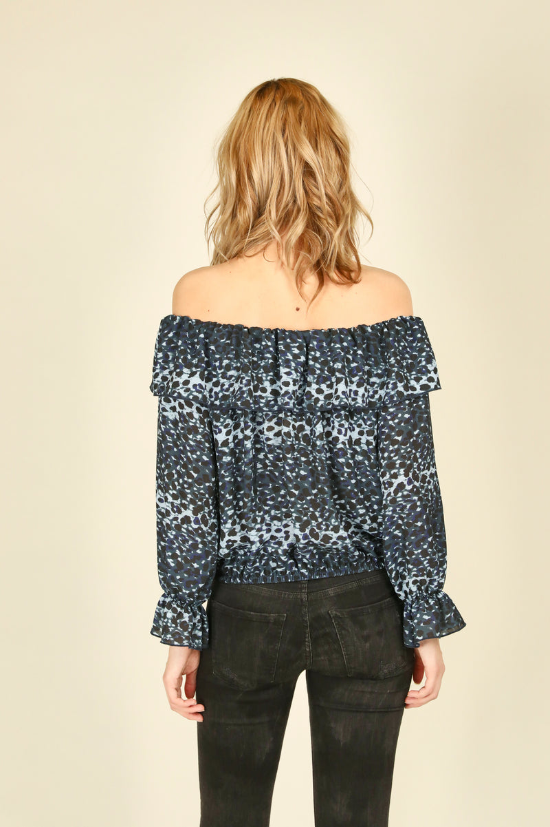 Denim Leopard Print Ruffle Off Shoulder Top