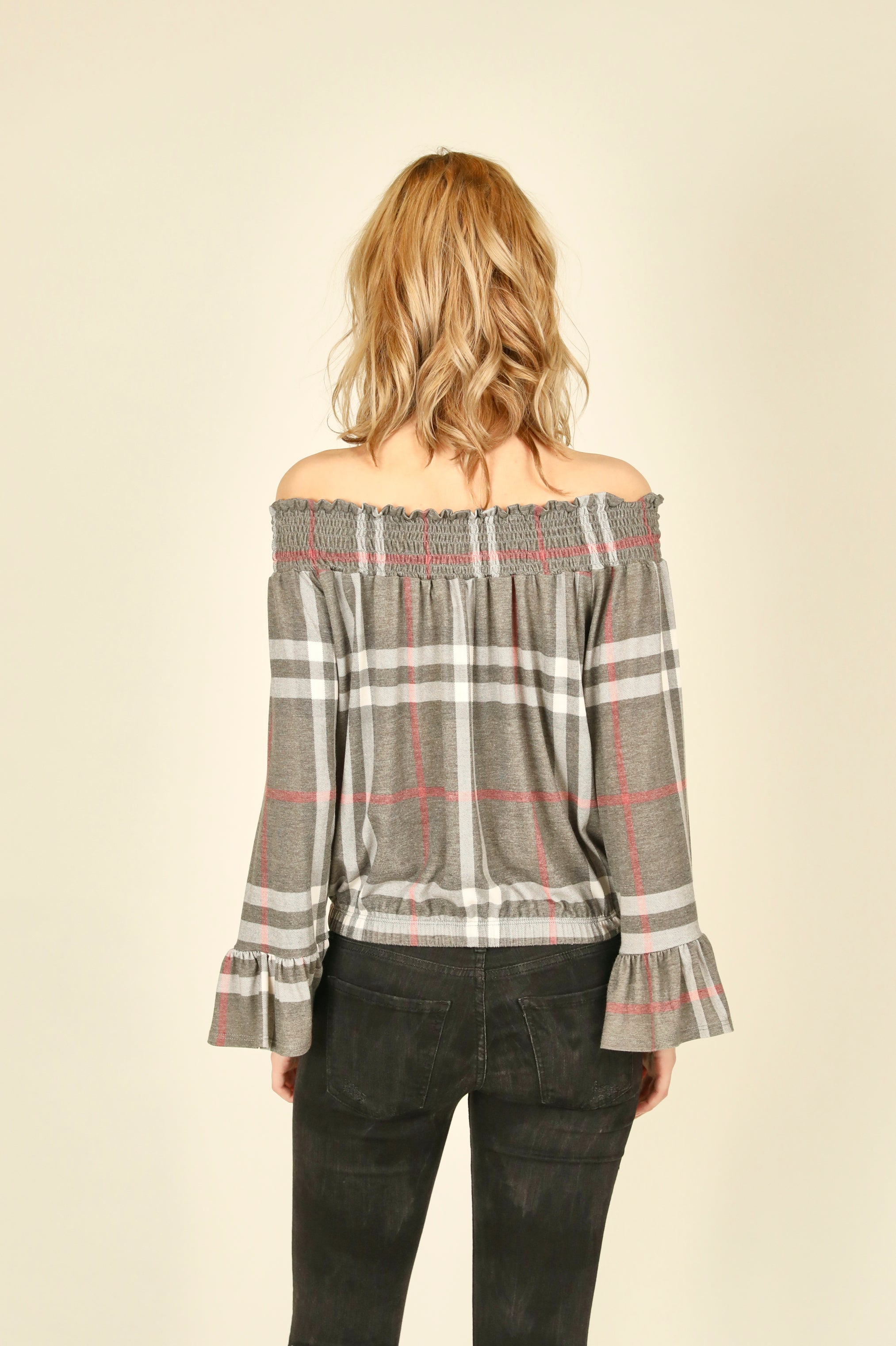 Plaid Off Shoulder Top