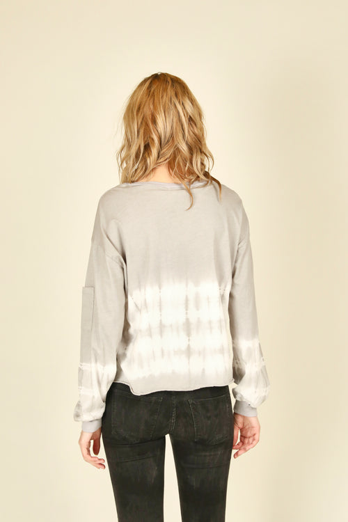 Light Grey Tie Dye Pocket Sleeve Top