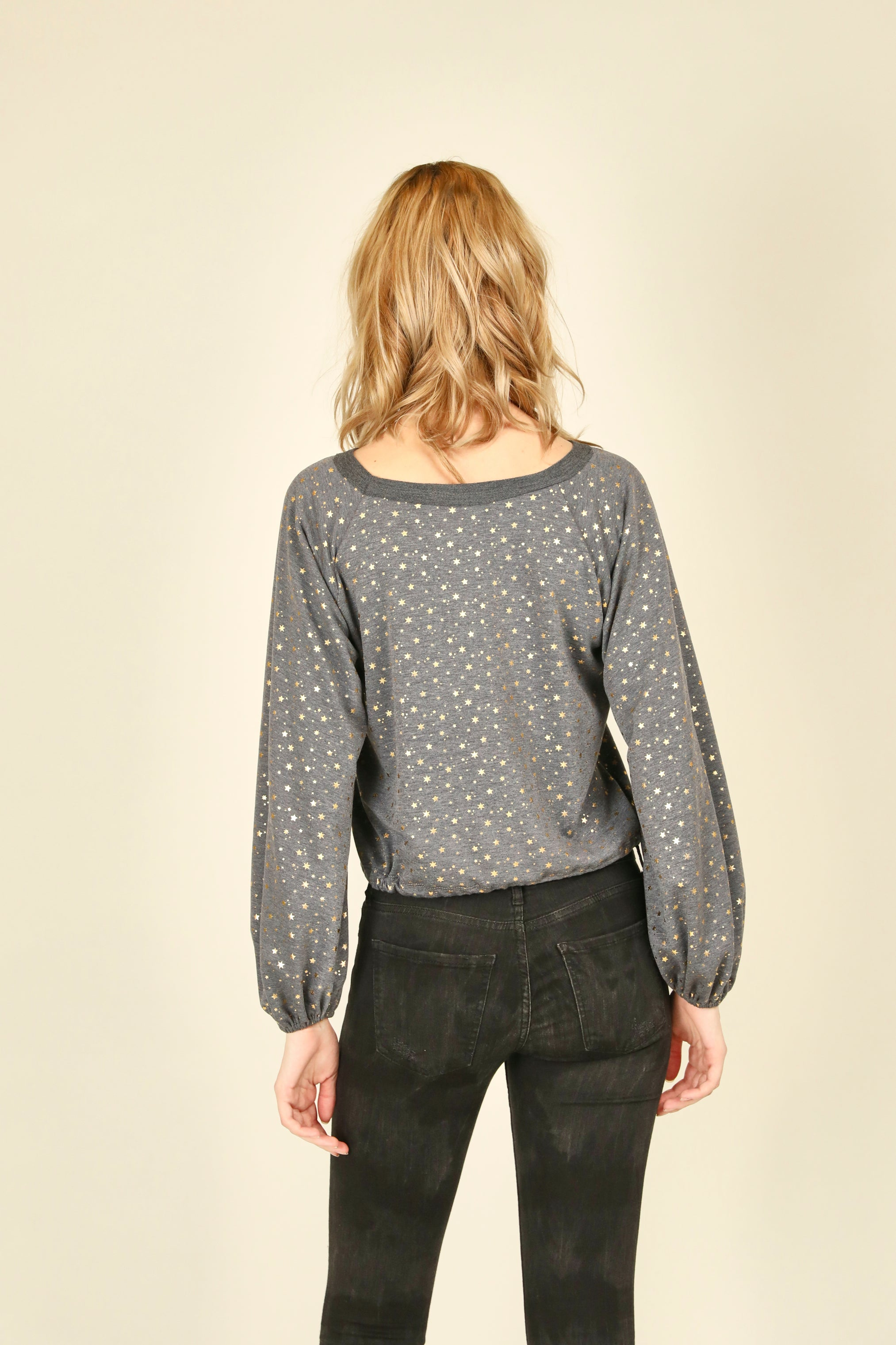 Washed Navy Gold Star Drawstring Top