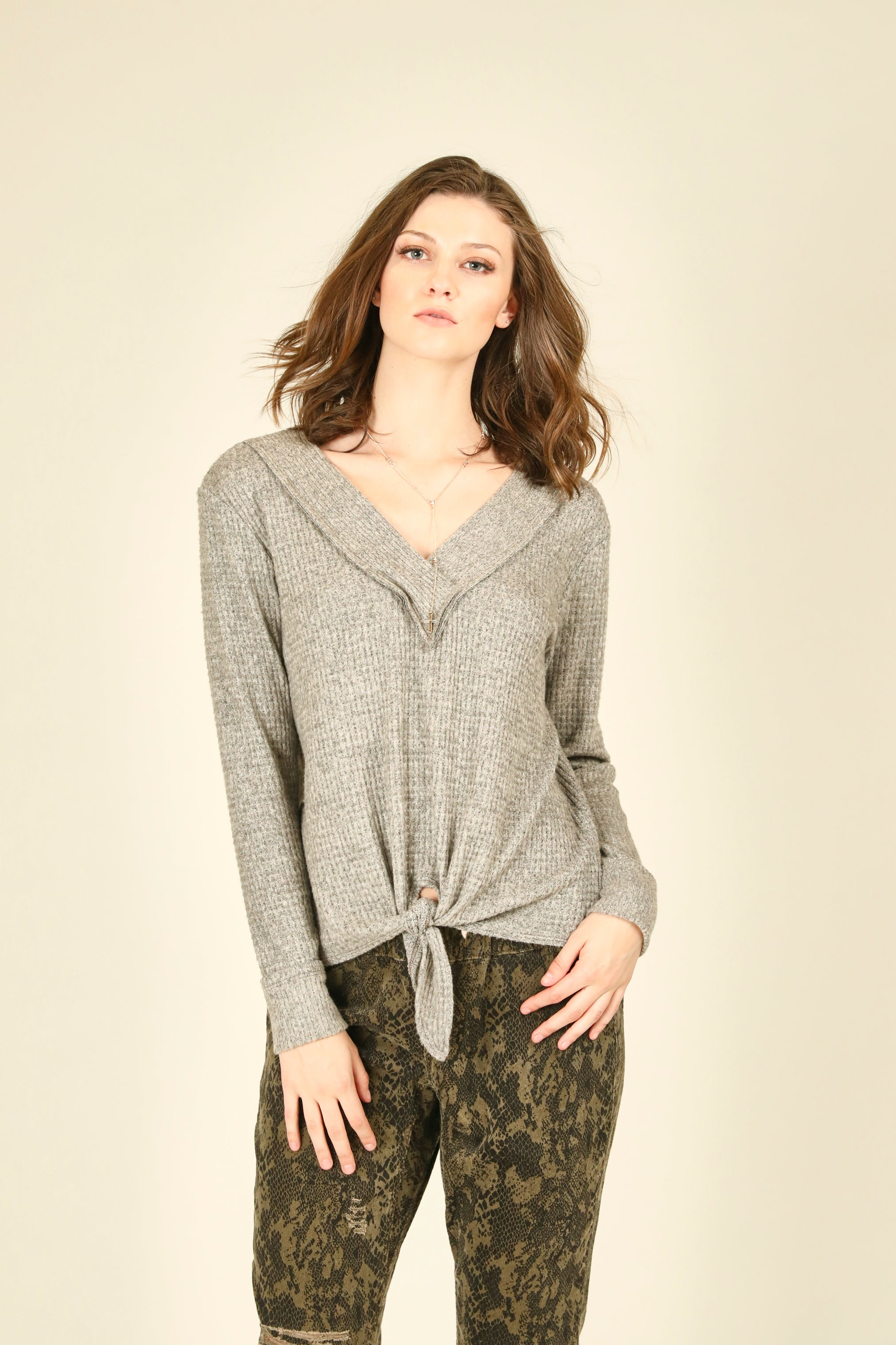 Brushed Thermal V-Neck Top