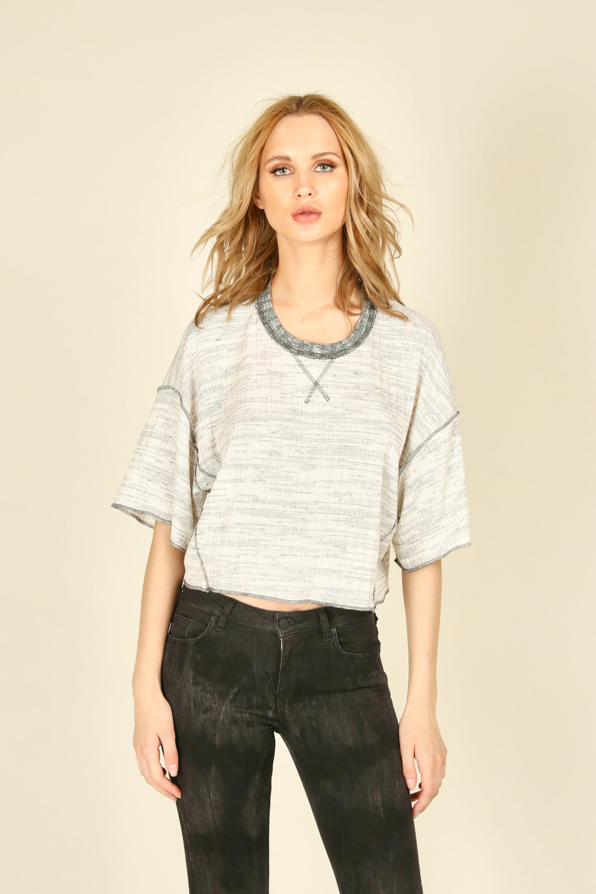 Heather Light Grey Thermal Rib Top