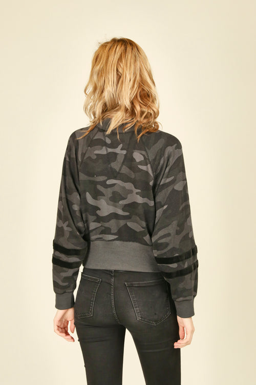 Black Camo Crop Crewneck