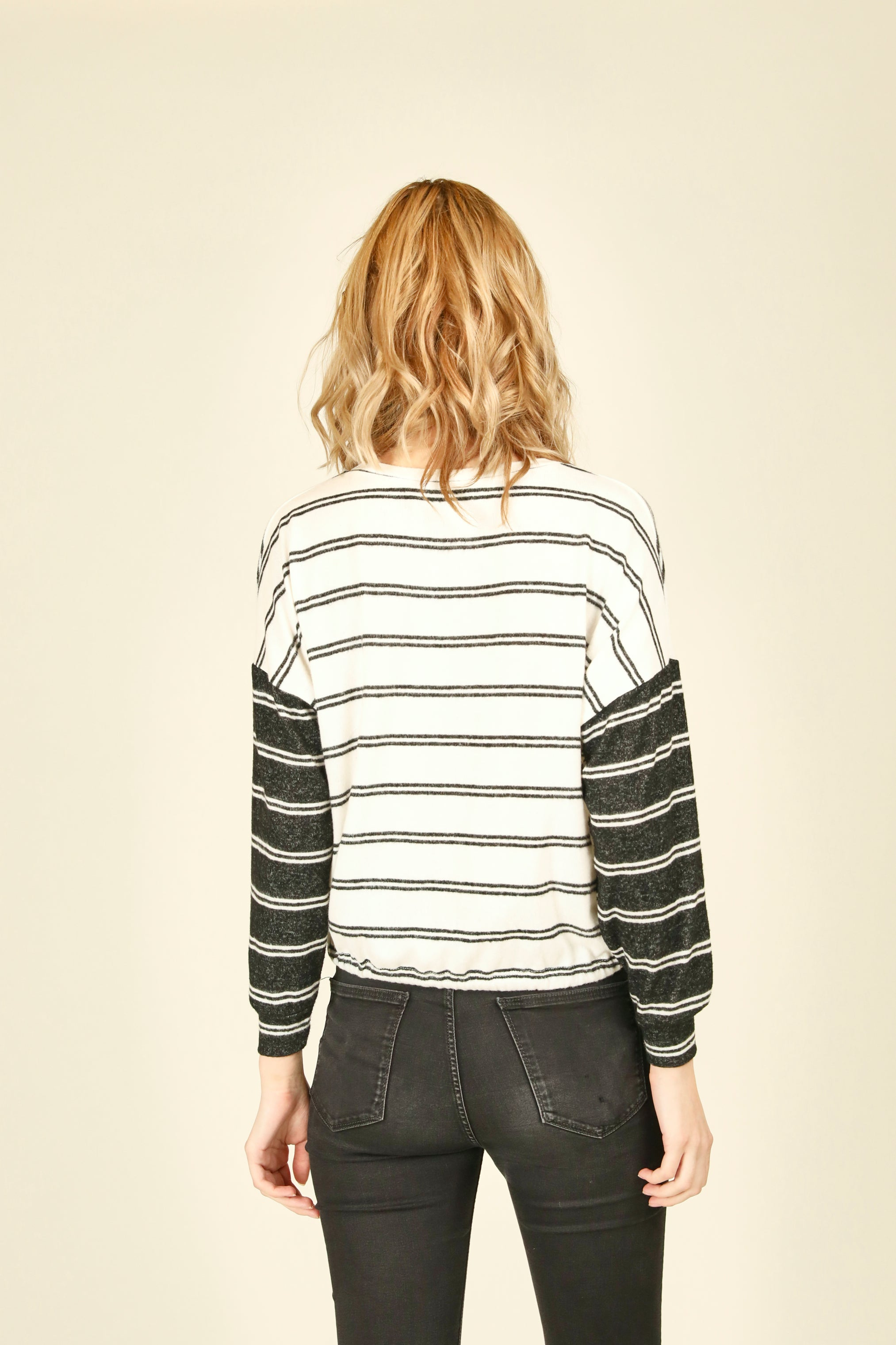 Colorblock Hacci Striped Top