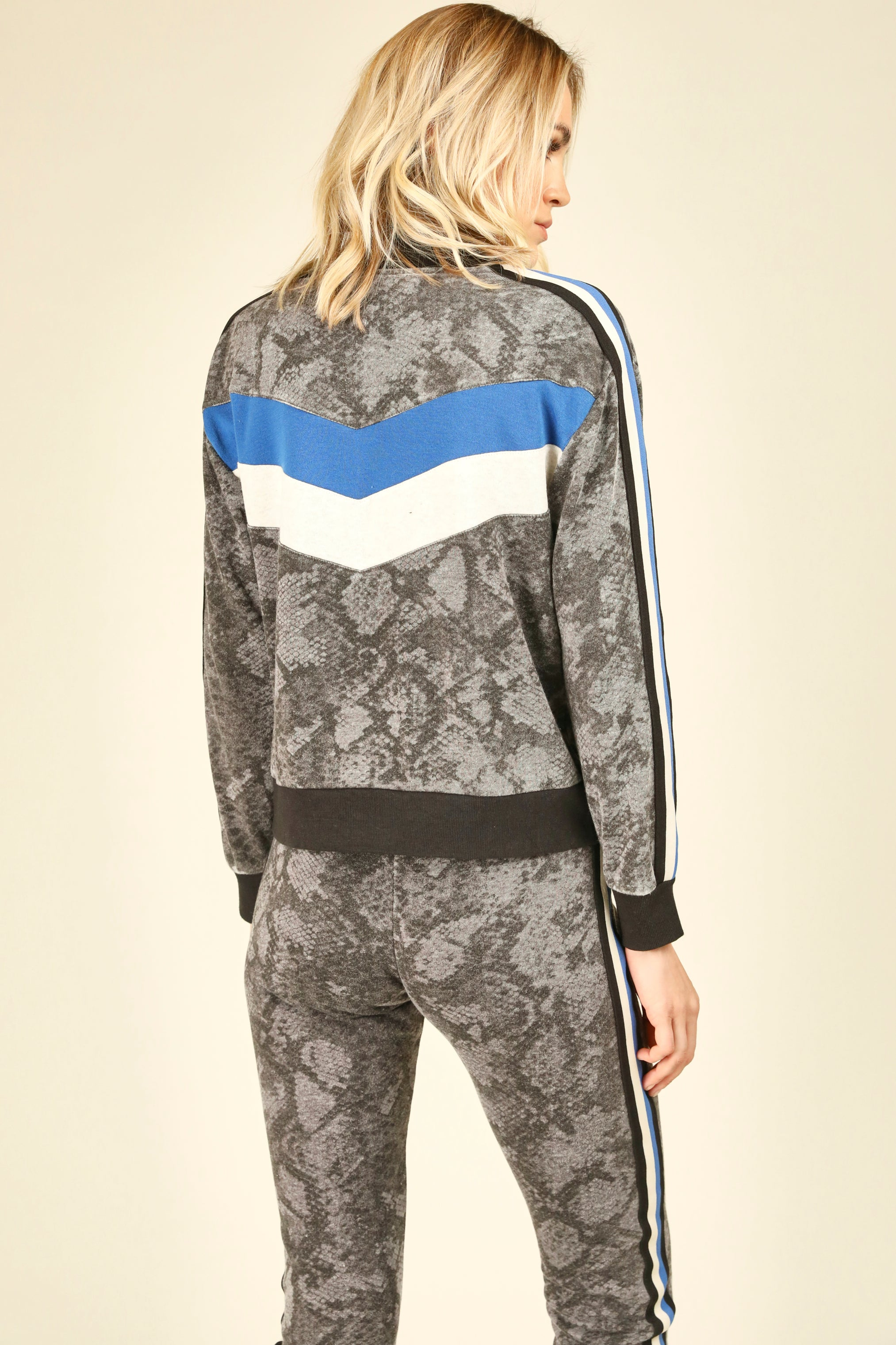 Snakeskin Colorblock Half Zip