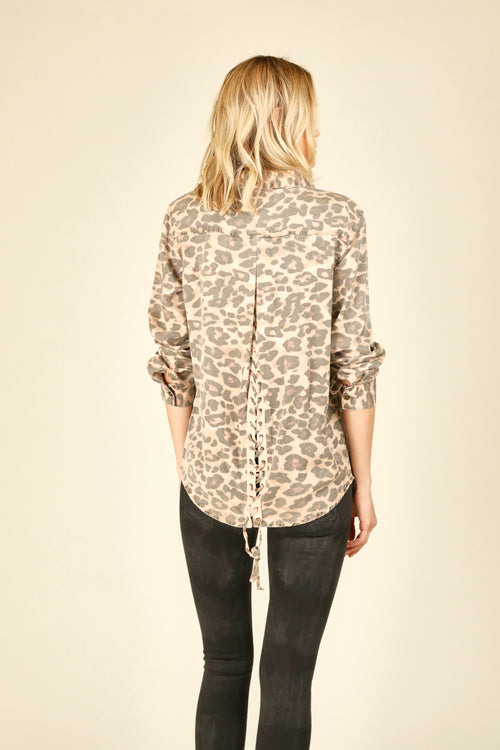 Brown Leopard Lace Up Tencel Shirt