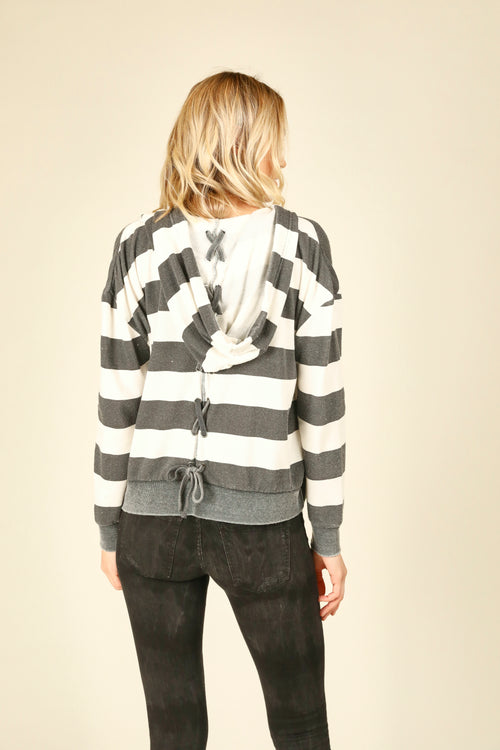 Striped Lace Up Hoodie