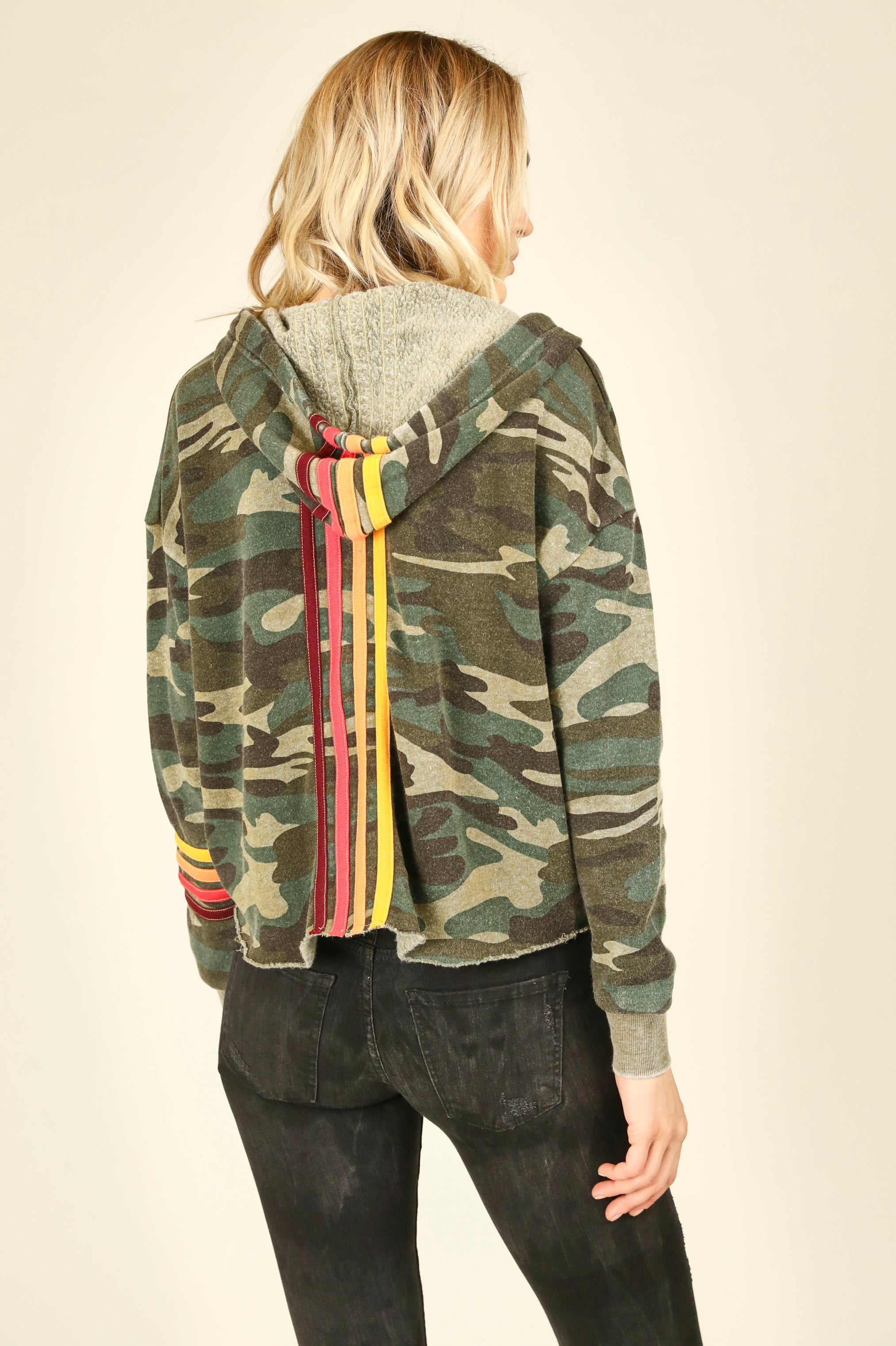 Olive Camo Hoodie With Multi Stripes