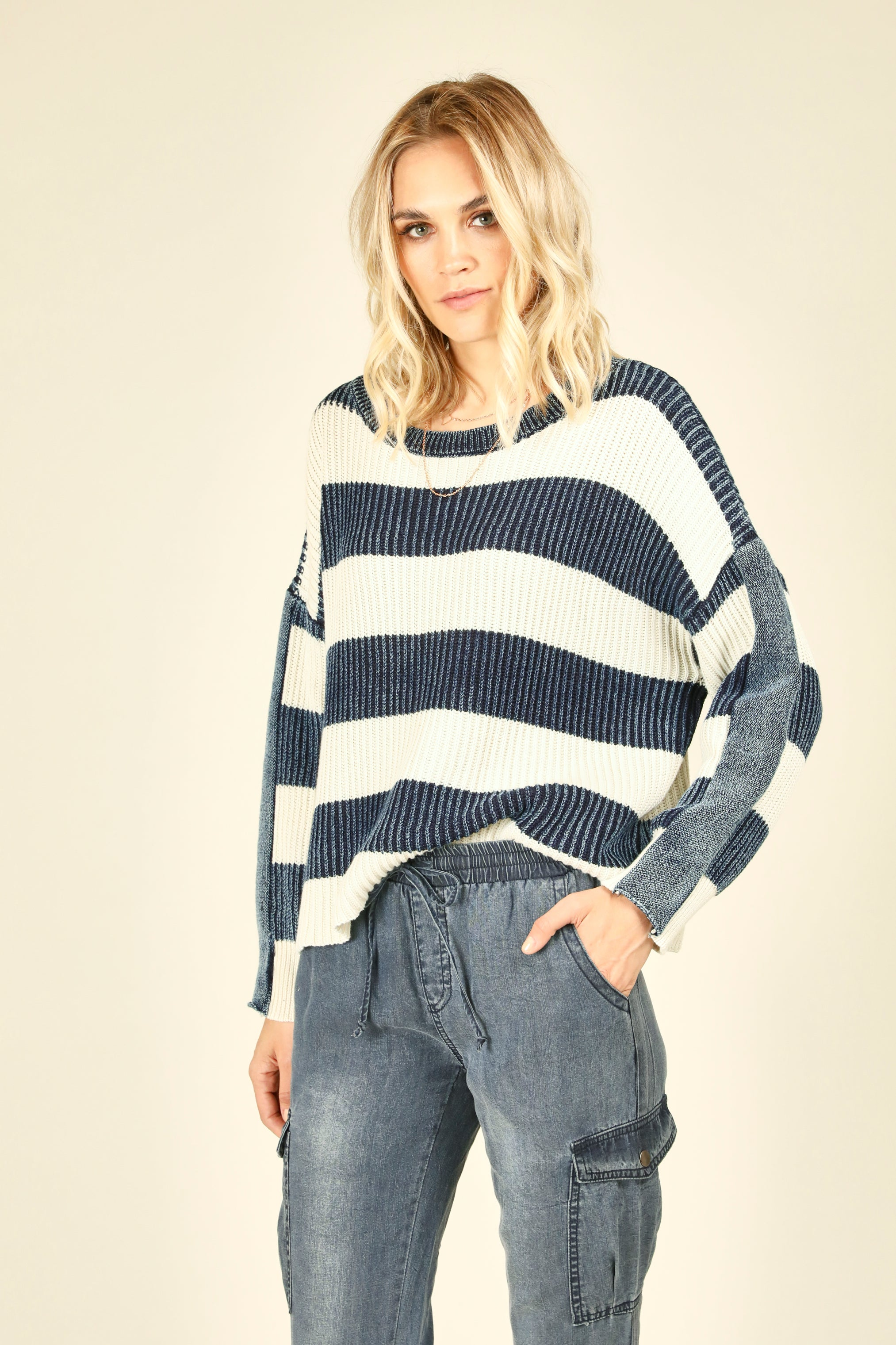 Ivory and Denim Stripe Sweater
