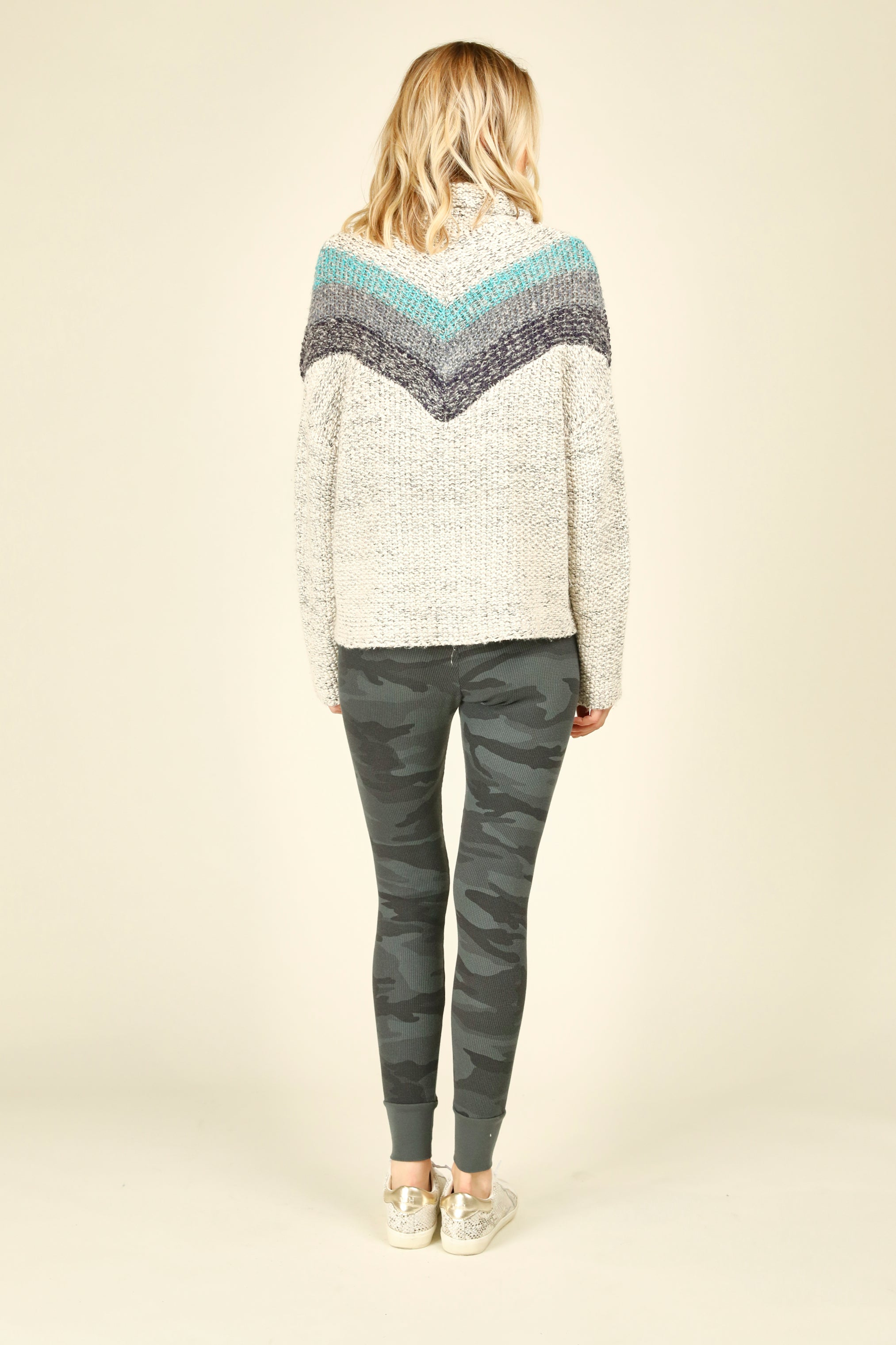Blue Striped Chunky Knit Sweater