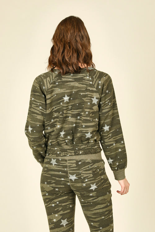 Camo White Star Smocked Bottom Crewneck