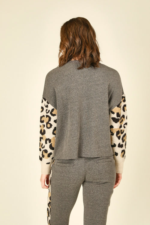 Leopard Fleece and Jacquard Crewneck