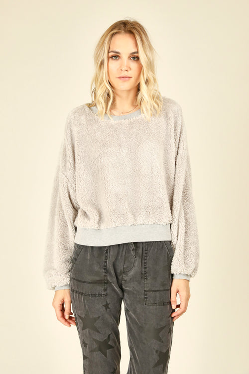 Light Grey Bear Basic Crew Sweater