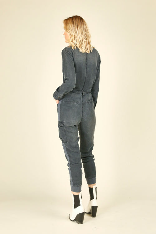 Navy Washed Tencel Jumpsuit