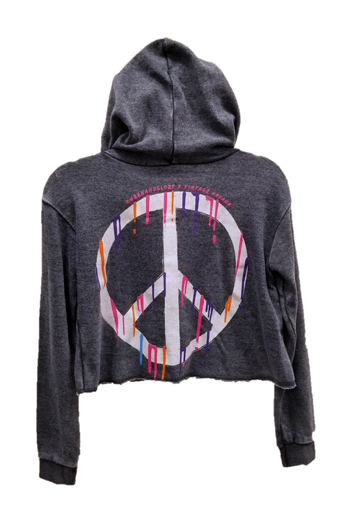 "WREN AND GLORY X VH - NEW BURNOUT ""DRIPPING PEACE"" FRONT ZIP HOODIE"